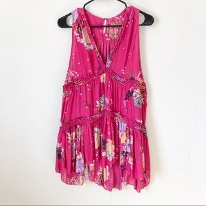 Free People Floral Smocked Tank Top Tunic